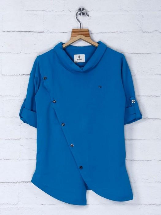 Royal Blue Cotton Fabric Solid Kurta