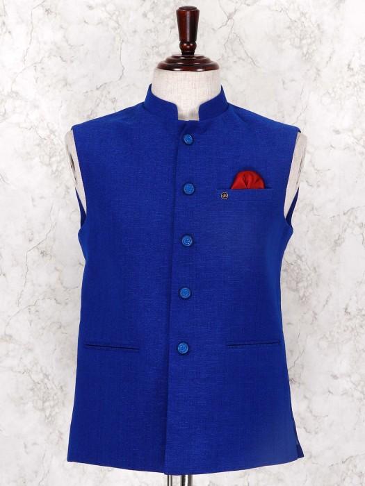 Royal Blue Jute Fabric Waistcoat For Mens