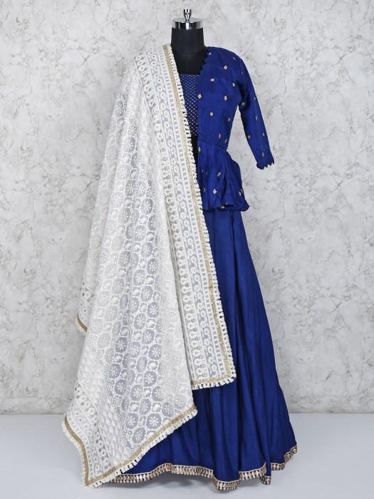 Royal Blue Raw Silk Festive Lehenga Choli