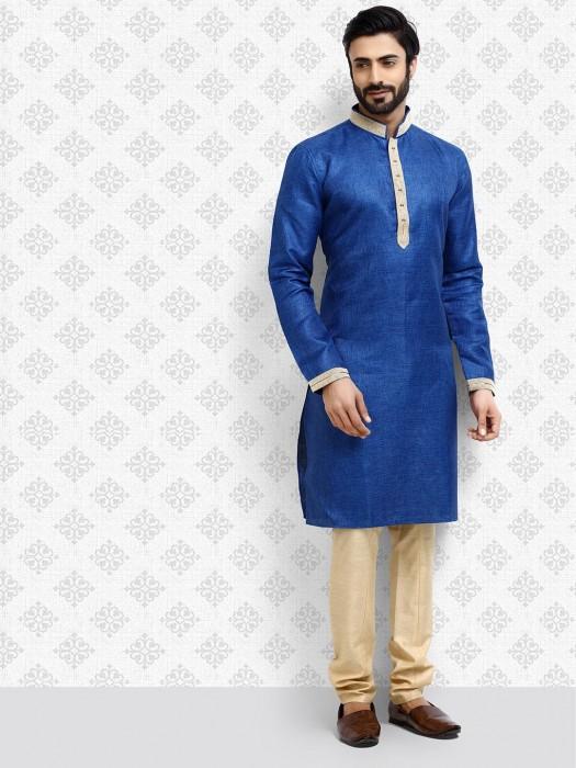 Royal Blue Solid Cotton Fabric Mens Kurta Suit