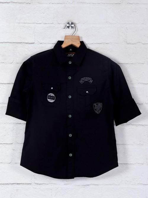 Ruff Boys Black Solid Shirt
