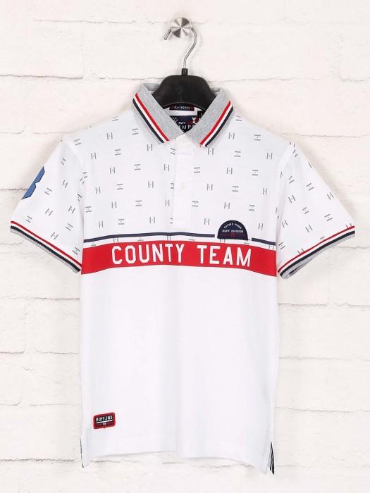 Ruff Boys White Printed Design T-shirt