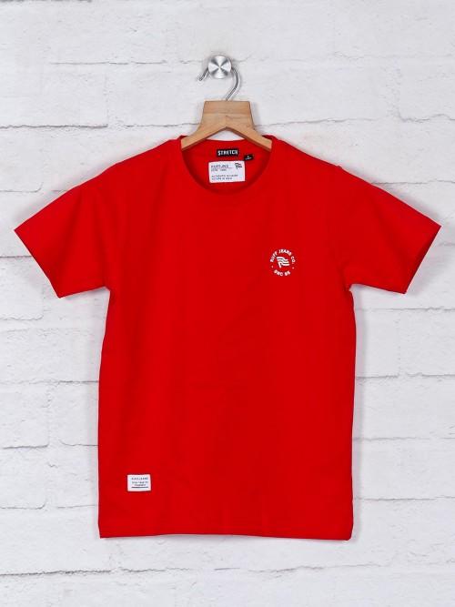 Ruff Solid Maroon Cotton T-shirt
