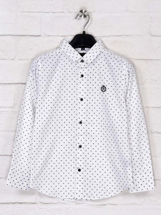 Ruff White Polka Dot Printed Slim Fit Shirt