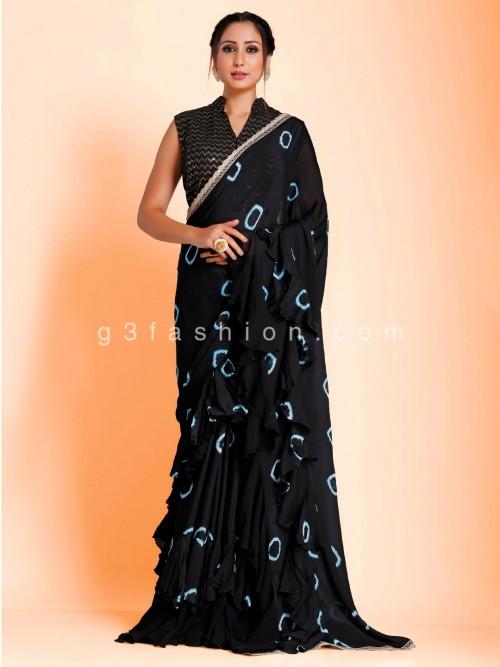 Ruffel Black Designer Contrast Bandhej Print Georgette Saree With Readymade Blouse