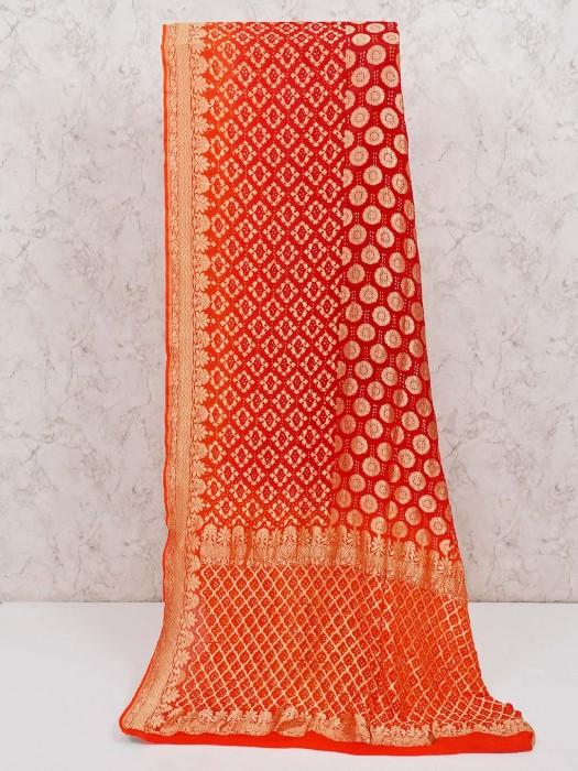 Rust Orange Bandhej Saree In Wedding Function