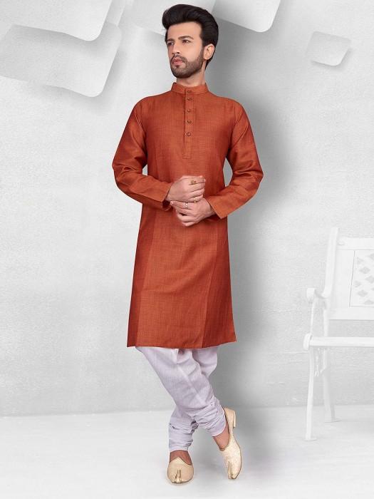 Rust Orange Color Solid Cotton Kurta Suit