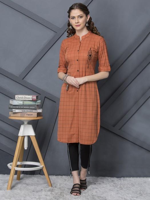 Rust Orange Cotton Casual Checks Kurti