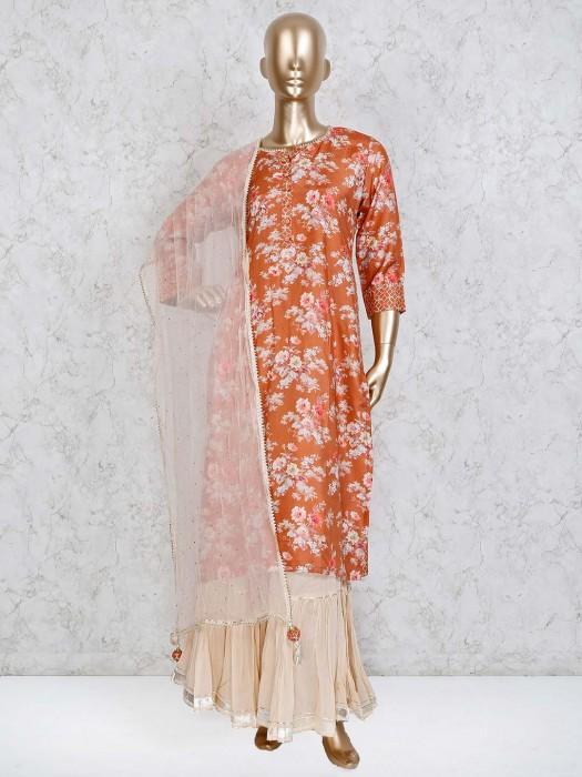 Rust Orange Cotton Silk Punjabi Sharara Suit