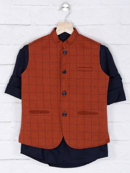 Rust Orange Hued Cotton Fabric Waistcoat Shirt