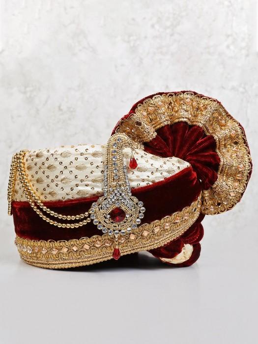 Safa In Cream And Maroon Velvet Fabric