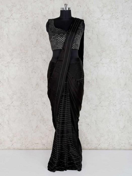 Satin Black Party Wear Ready To Wear Saree