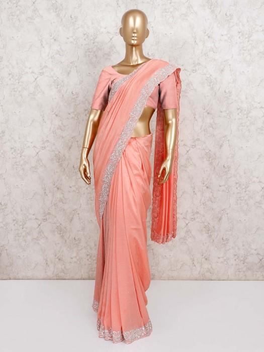 Satin Wedding Wear Peach Saree