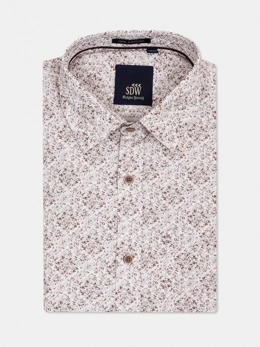 SDW Light Brown Printed Mens Shirt