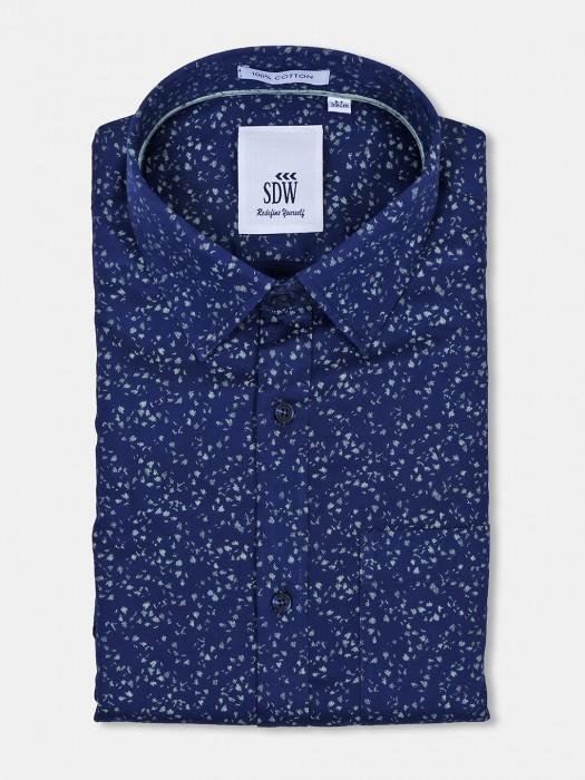 SDW Mens Navy Color Printed Pattern Shirt