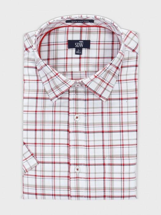 SDW White Cotton Checks Pattern Shirt