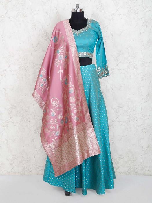 Aqua Colored Beautiful Silk Lehenga Choli