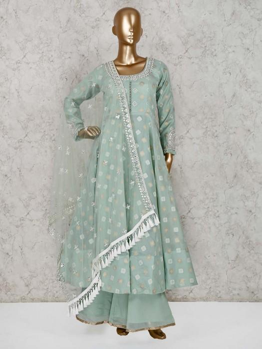 Sea Green Cotton Silk Anarkali Palazzo Suit