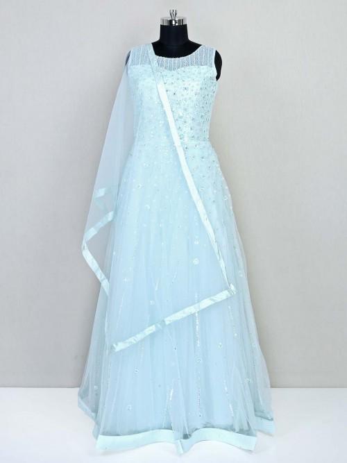 Sea Green Net Gown In Net For Wedding