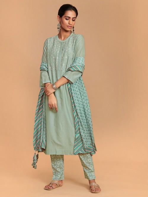 Sea Green Printed Round Neck Salwar Suit