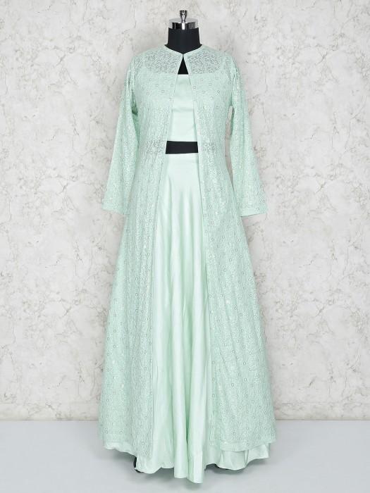 Sea Green Wedding Function Tissue Silk Salwar Suit