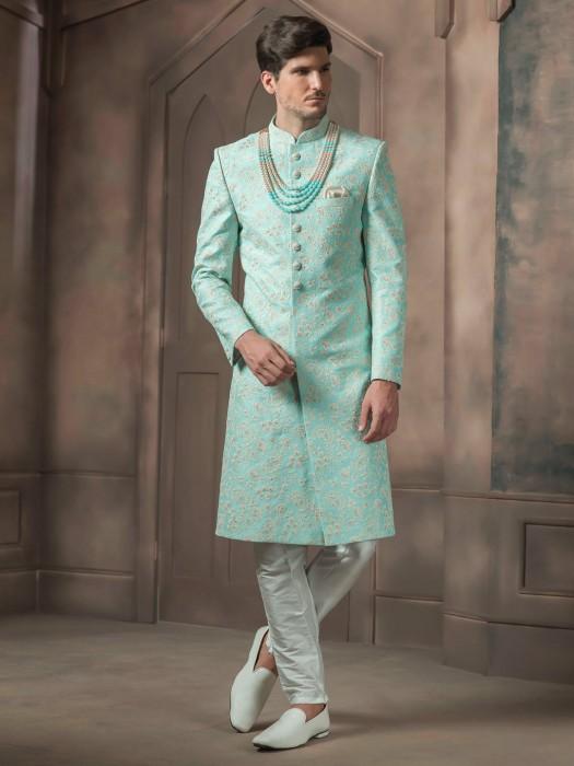 Sea Green Wedding Raw Silk Sherwani