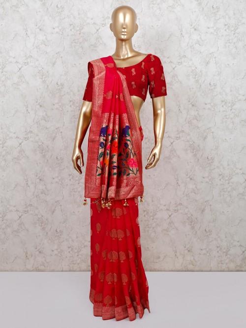 Semi Banarasi Silk Saree In Magenta
