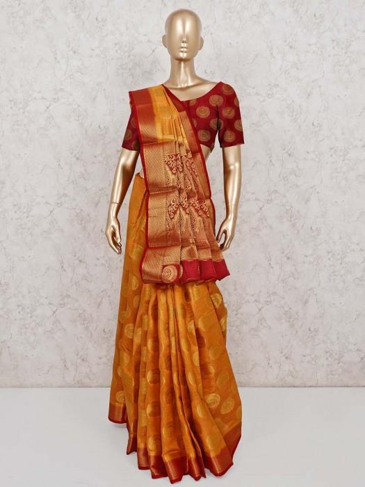 Semi Cotton Silk Festive Saree In Orange
