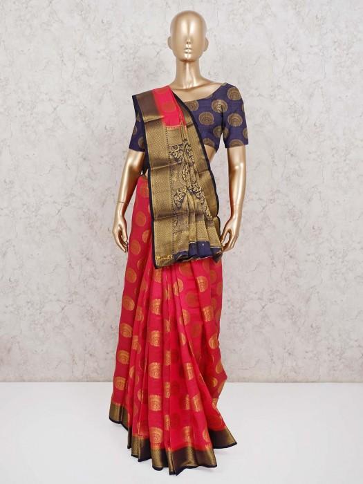 Semi Cotton Silk Magenta Saree For Festive