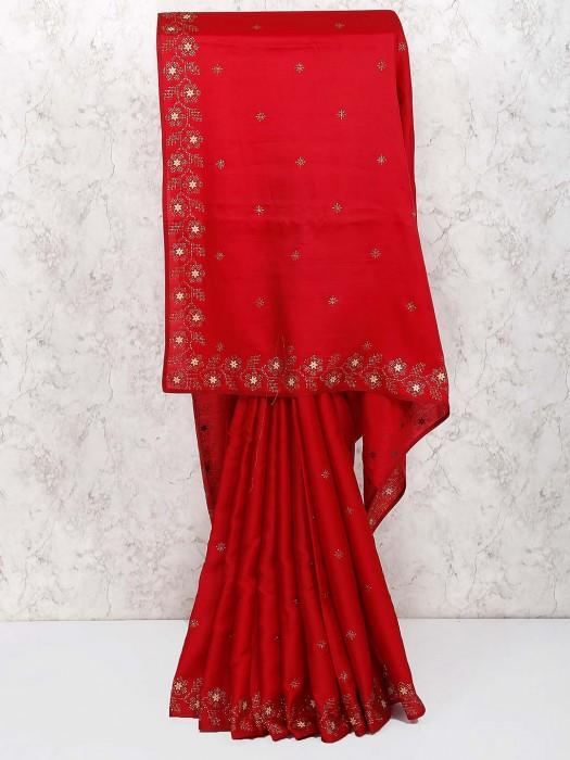Semi Silk Pretty Saree In Red Color