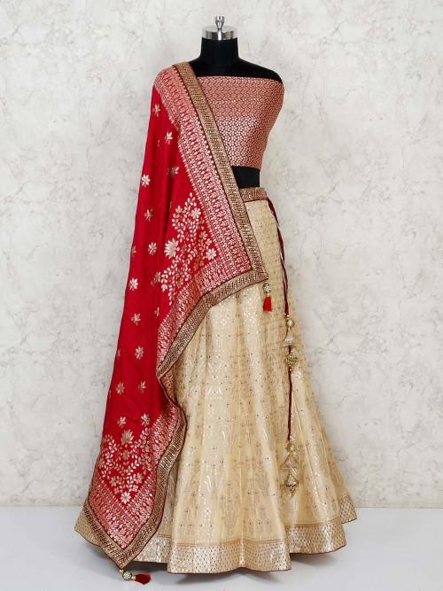 Semi Stitched Cream And Red Banarasi Lehenga