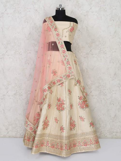 Semi Stitched Cream Silk Lehenga Choli For Wedding Bride