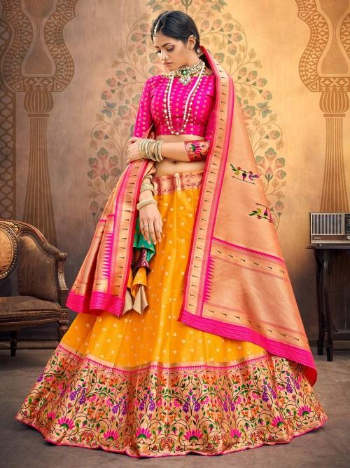 Semi Sttiched Magenta And Yellow Banarasi Silk Lehenga Choli