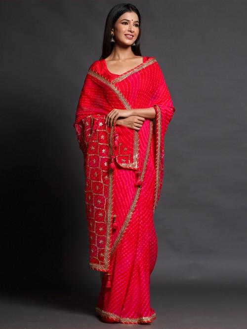Shaded Pink Laheriya Georgette Saree