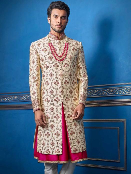 Sherwani In Beige Raw Silk