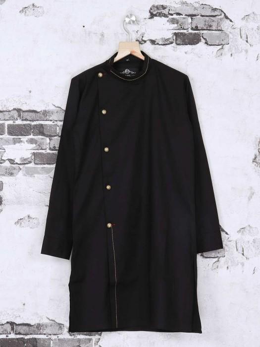 Silk Black Plain Kurta Suit
