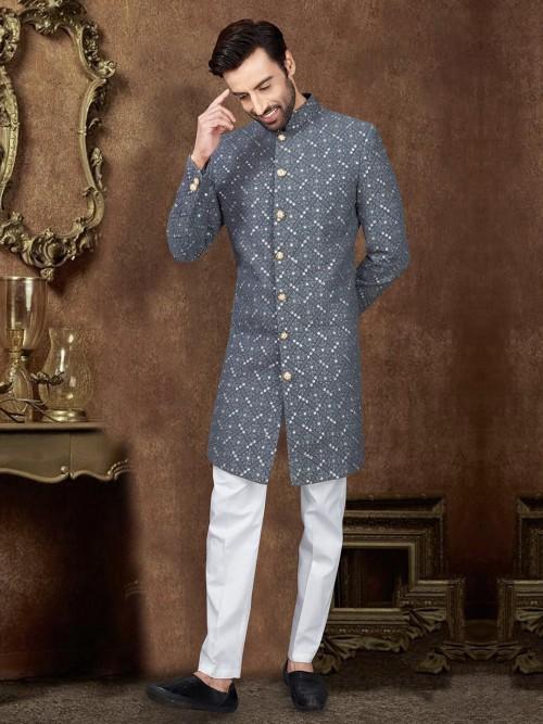 Silk Designer Indo Western In Grey Color
