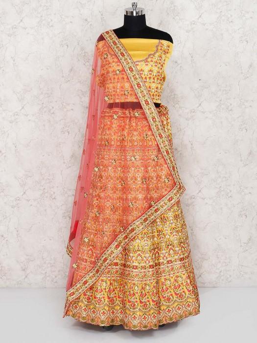 Silk Fabric Yellow Semi Stitched Lehenga Choli