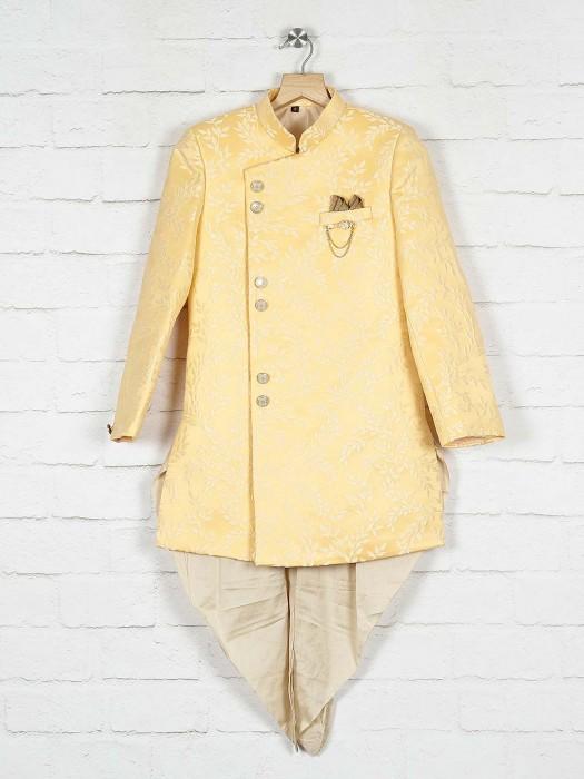 Silk Lemon Yellow Wedding Indo Western