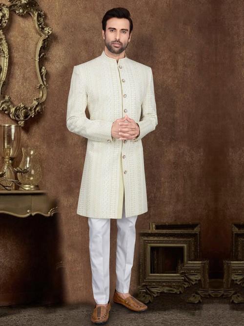 Silk Light Green Hue Designer Indo Western Wedding Wear