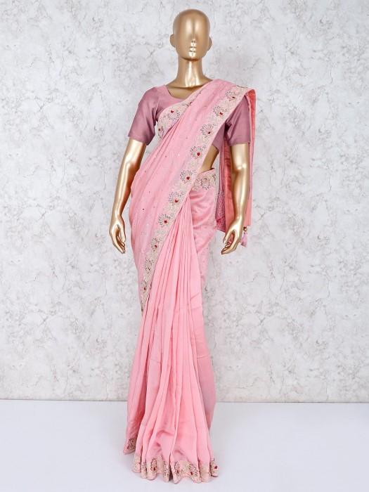 Silk Pink Beautiful Saree