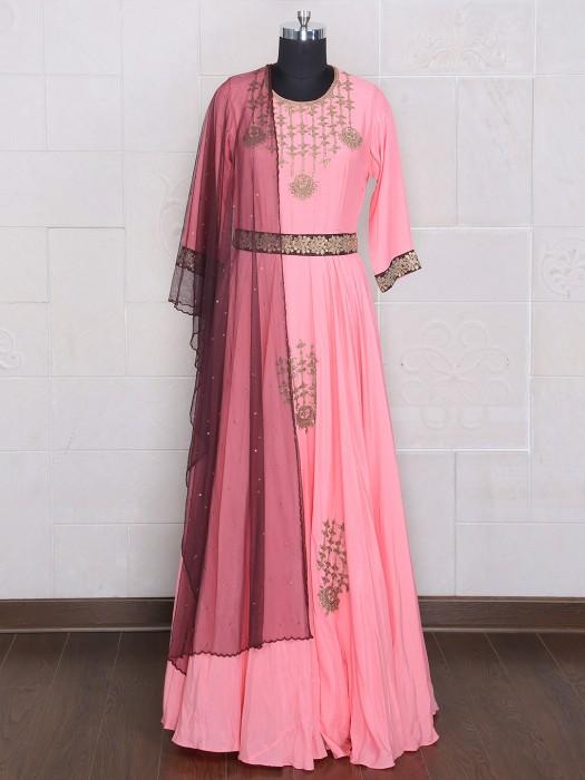 Silk Pink Designer Anarkali Suit