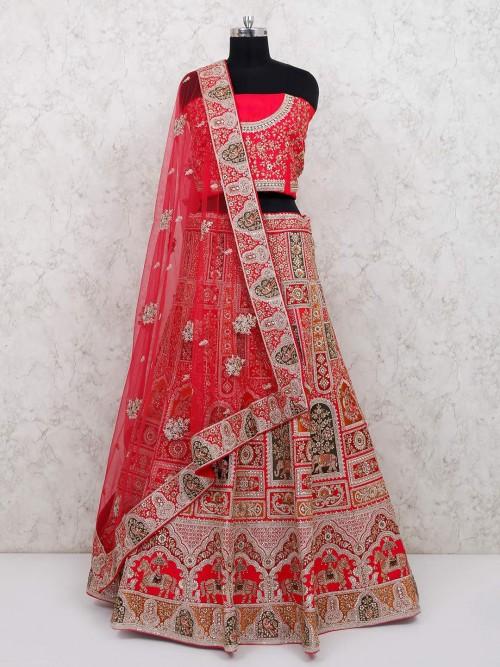 Silk Pink Designer Bridal Wear Lehenga Choli
