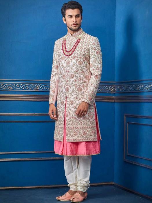 Silk Pink Groom Wear Sherwani
