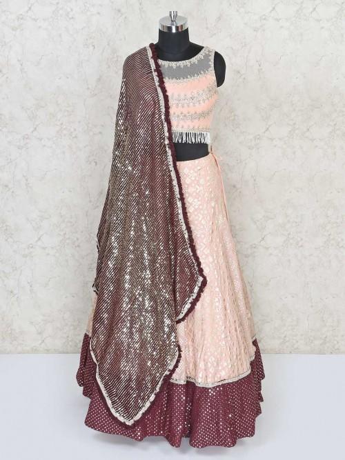 Silk Wedding Lehenga Choli In Peach