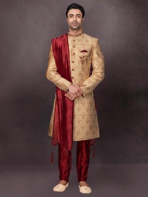 Silk White Mens Indo Western Wedding Special