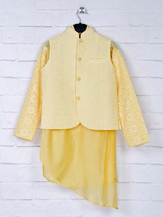 Silk Yellow Hue Party Wear Waistcoat Set