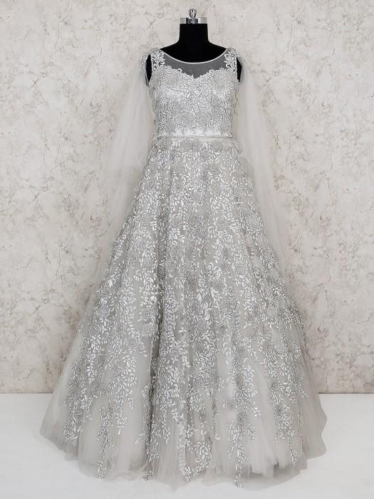 Silver Color Net Floor Length Gown