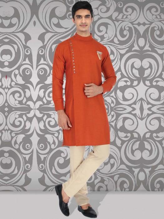 Simple Orange Color Cotton Kurta Suit