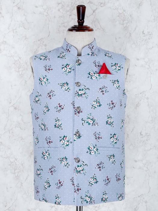 Sky Blue Color Terry Rayon Fabric Waistcoat
